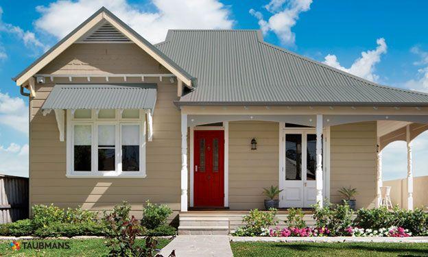 Taubmans burma buff cotton ball poinciana red colours pinterest house colors exterior for Taubmans exterior paint colours