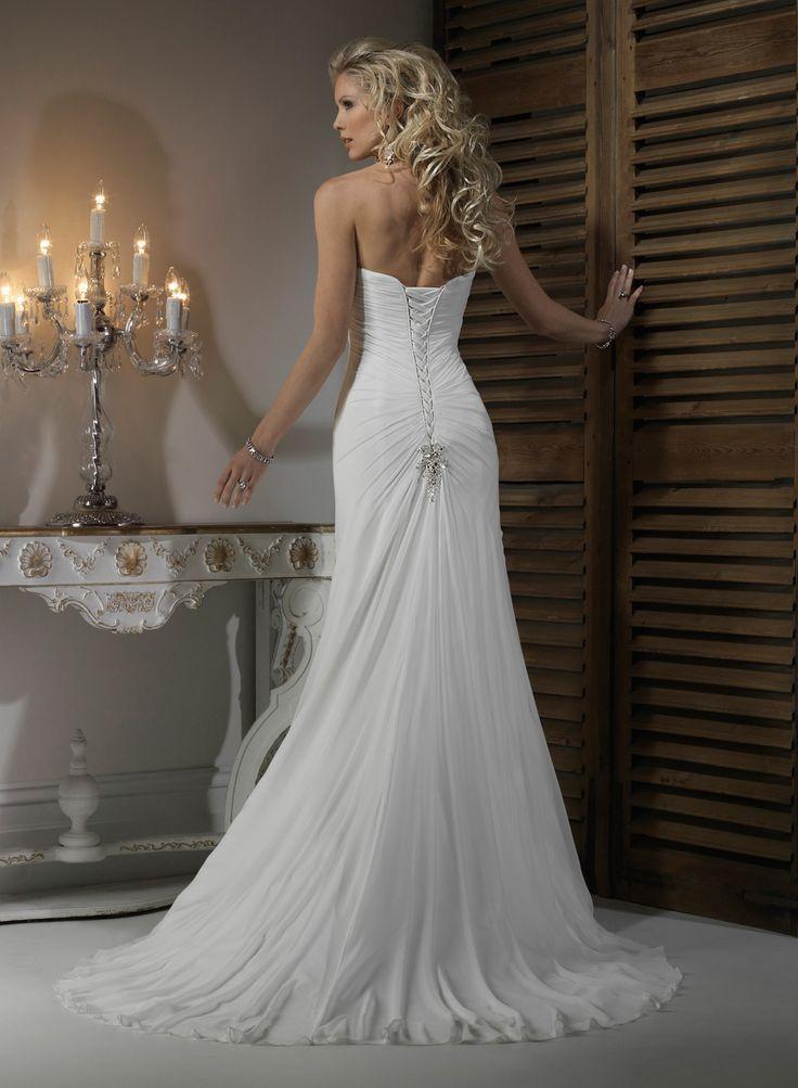 Chiffon Strapless Dipped Neckline A Line Wedding Dress