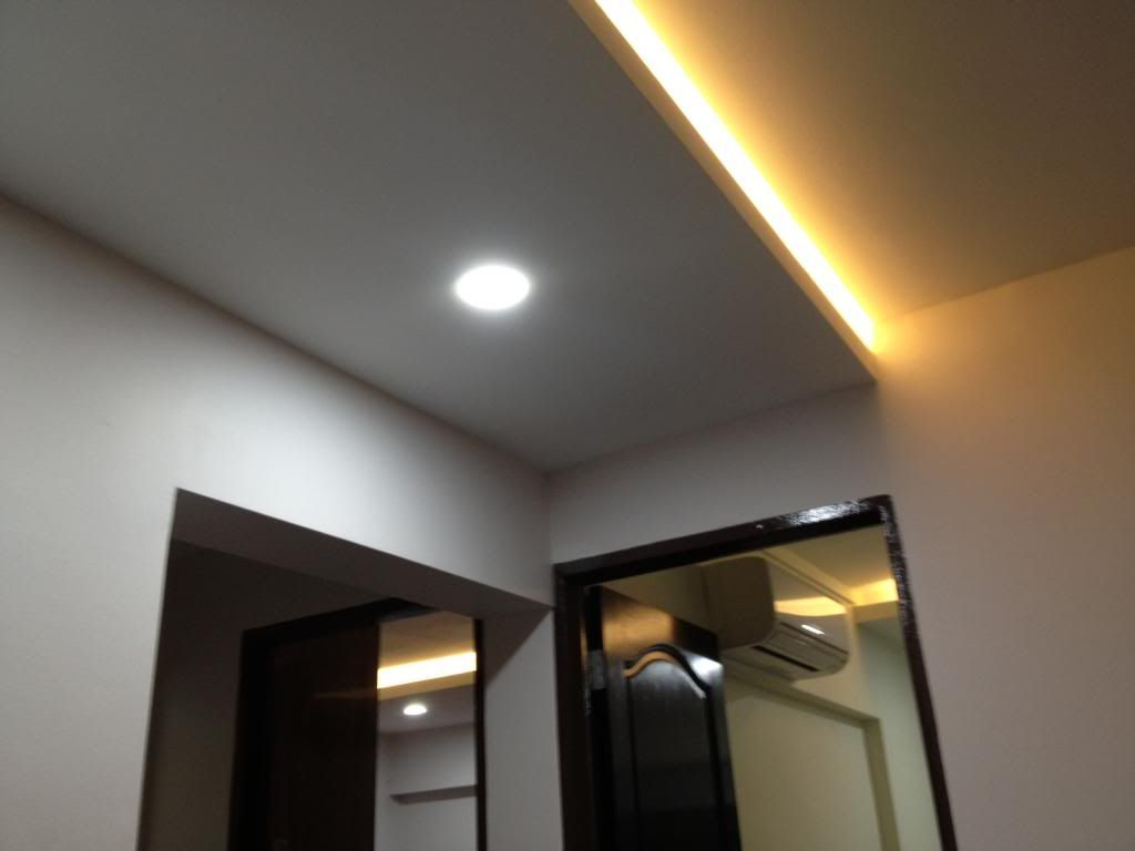 Concealing Aircon Tubing With False Ceiling, With Tube Lighting And  Downlights. Like This But