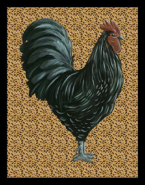 Black Rooster On Leopard Print Kitchen By HamiltonArtandDesign, $20.00