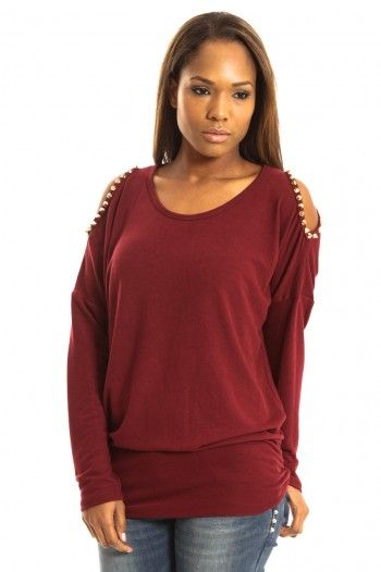 Punky Fish Open Arm Jumper in Wine