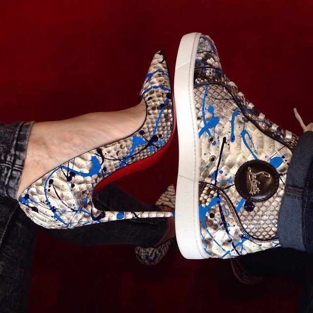 53630274f818 His Her Louboutin Designer Fashion High Heel Shoes Footwear Sneakers  Trainers High Tops Red Bottoms Couple Matching Swag Relationship Goals  Snake Skin ...