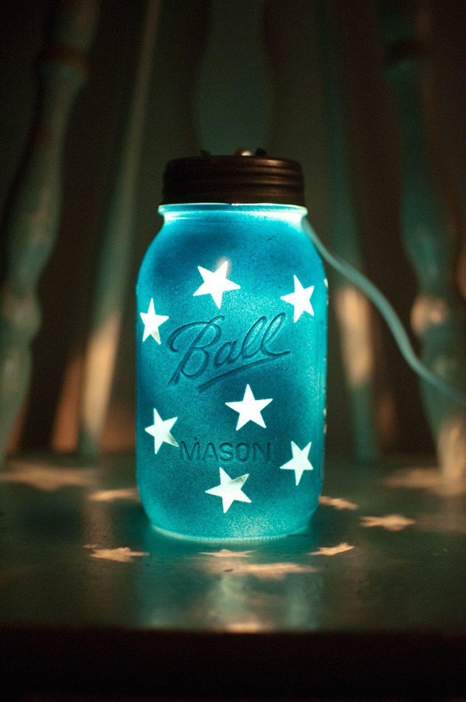 Blue Mason Jar Night Light with star pattern.  Great for kids, decor or weddings by RedTudorCrafts on Etsy https://www.etsy.com/listing/191432276/blue-mason-jar-night-light-with-star