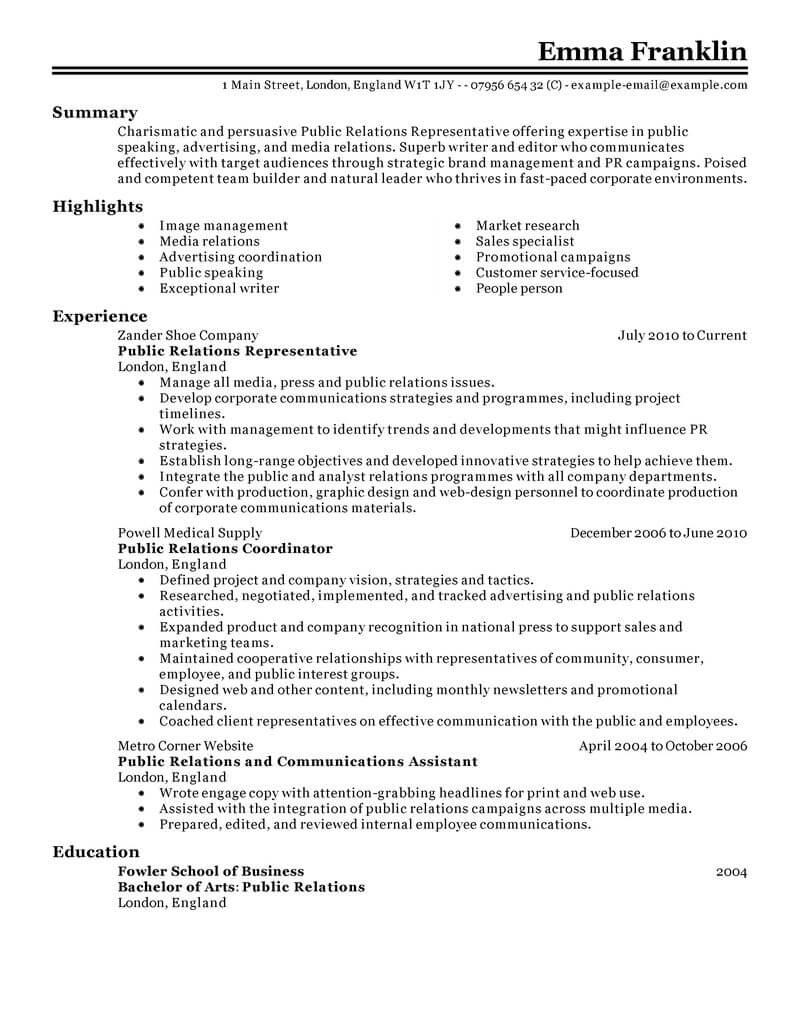 Best Public Relations Resume Example Resume examples