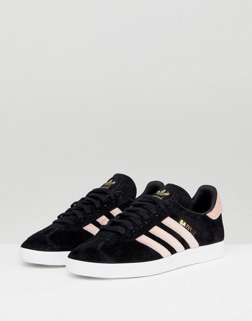 Irónico Tesauro Enderezar  adidas Originals Black Gazelle Sneakers With Velvet Stripes - Black    Sneakers, Black gazelles, Latest fashion clothes