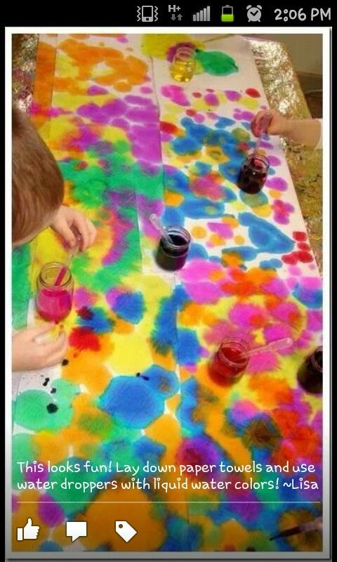 Water colours paper towels droppers Art crafts Pinterest