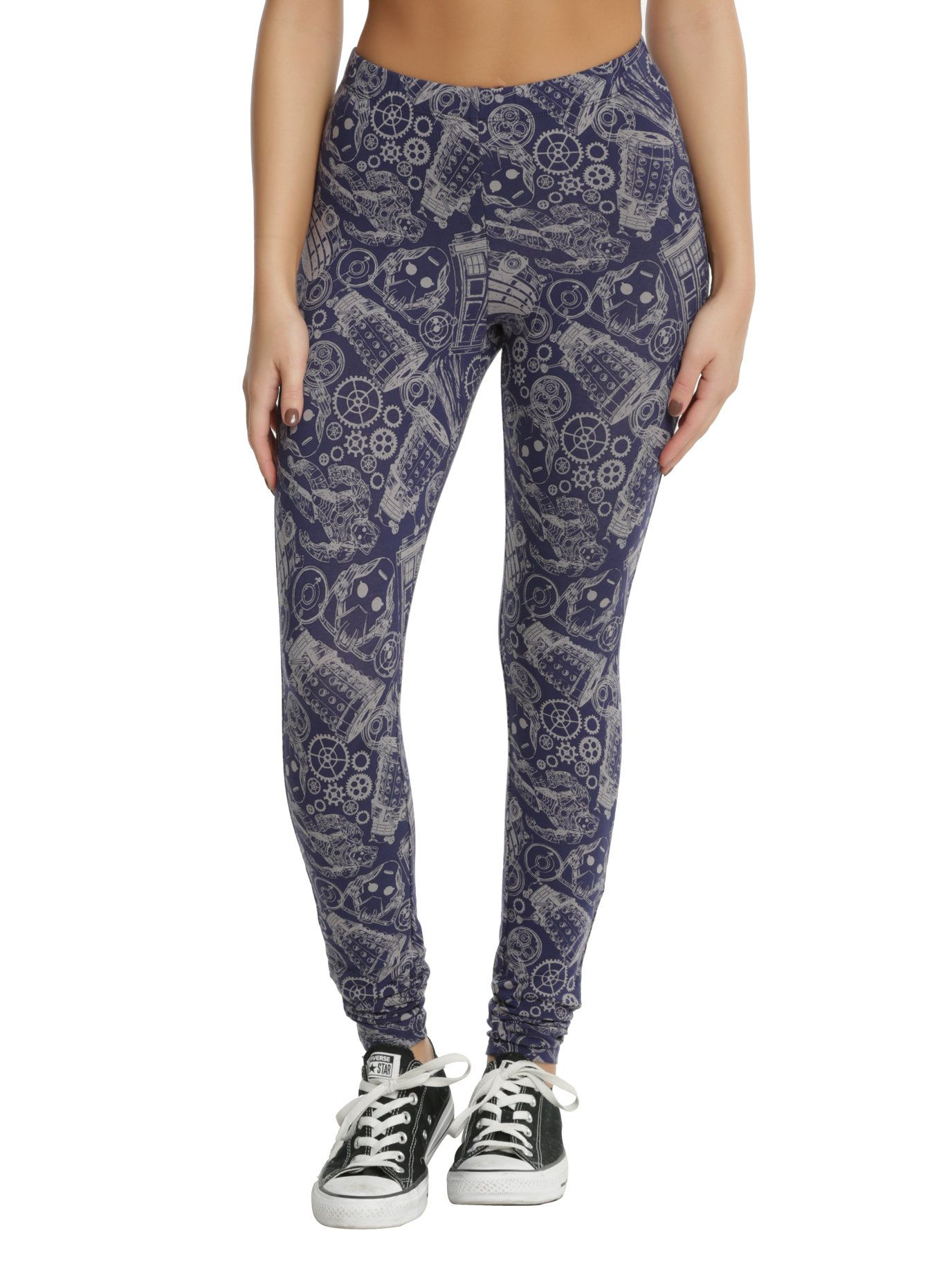 c1f5a7f5cae34 Geek meets chic with these blue stretch leggings from BBC's Doctor Who.  Print features an allover sketch style design featuring gears, TARDIS,  Cybermen, ...