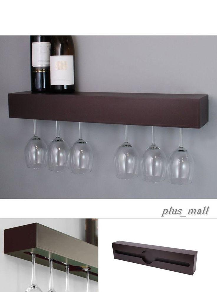 Wine Glass Rack Hanger Holder Under Cabinet Storage Bar Wall Mount ...