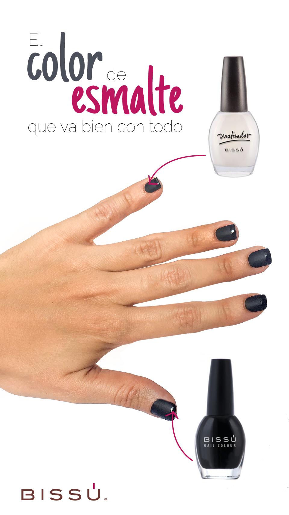 Uñas negro mate con francés brillante. http://tiendaweb.bissu.com/26 ...