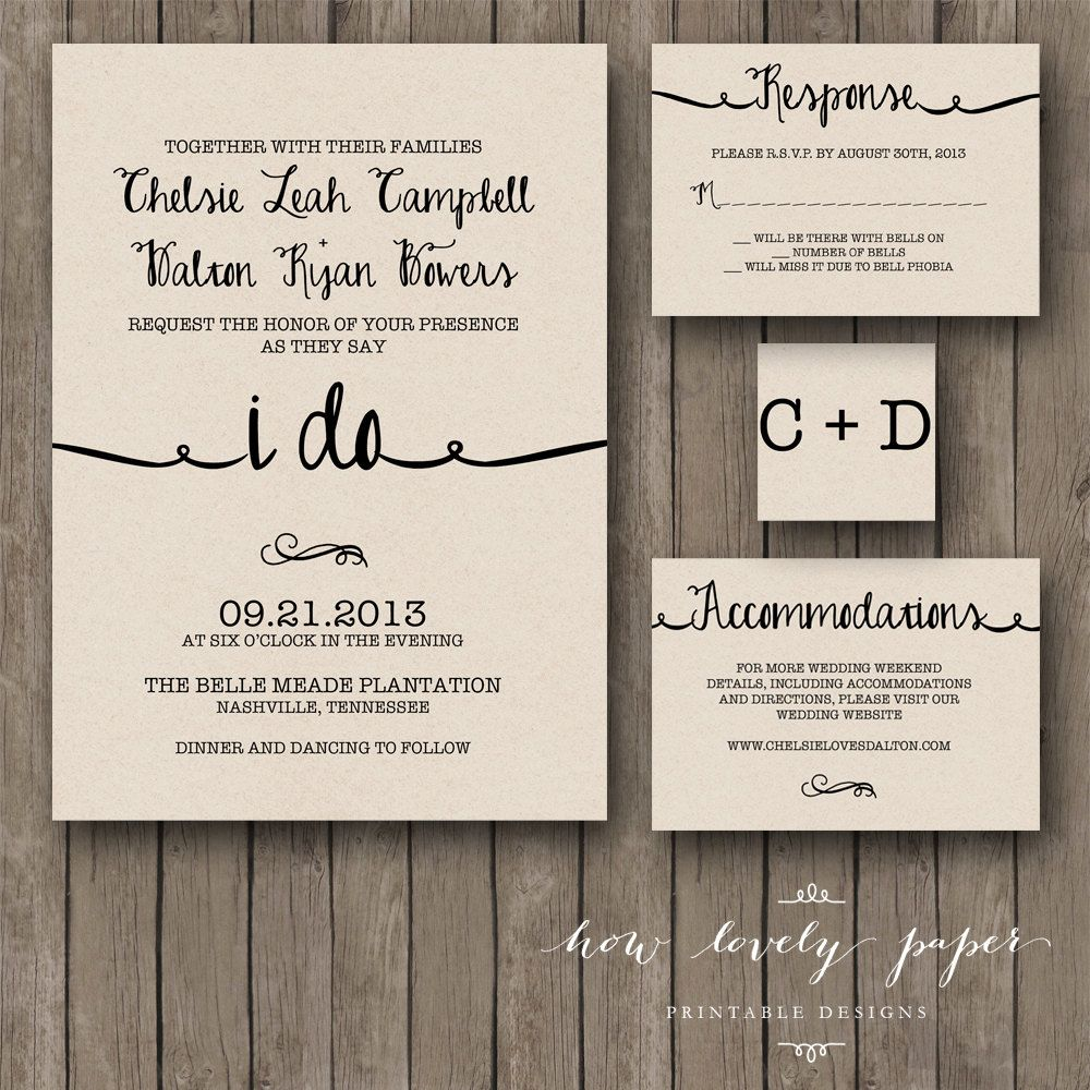 Places To Print Wedding Invitations: Printable Wedding Invitation Suite The Ella By