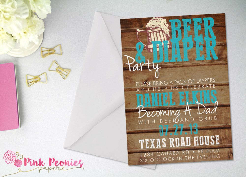 baby shower invitation wording for bringing diapers%0A Beer  u     Diapers Party Baby Shower Invitation  Dad Baby Shower  Couples Shower   Gender