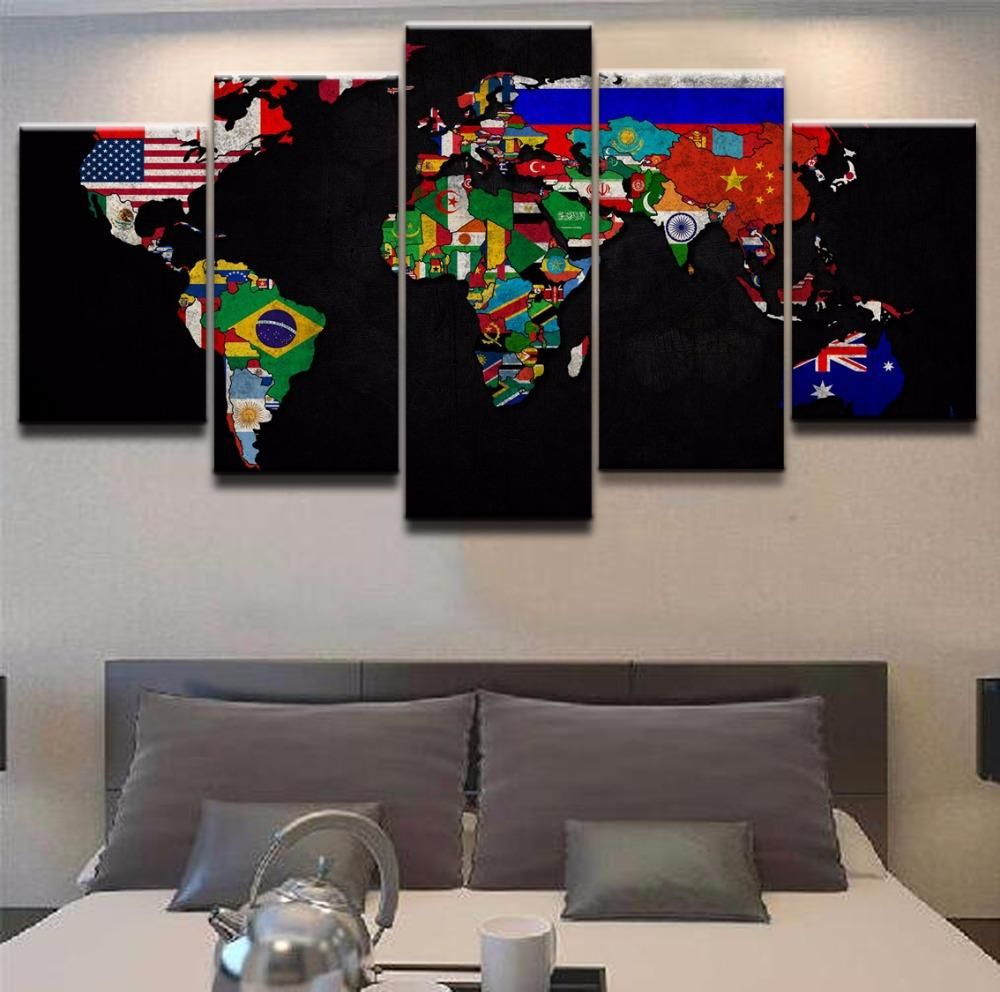 Map flags colorful canvas world map flags colorful canvas gumiabroncs Images