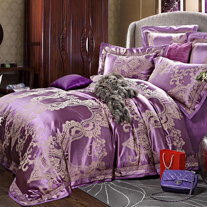 pas cher big promotion luxe soie ensemble de literie broderie linge de lit tencel satin housse. Black Bedroom Furniture Sets. Home Design Ideas