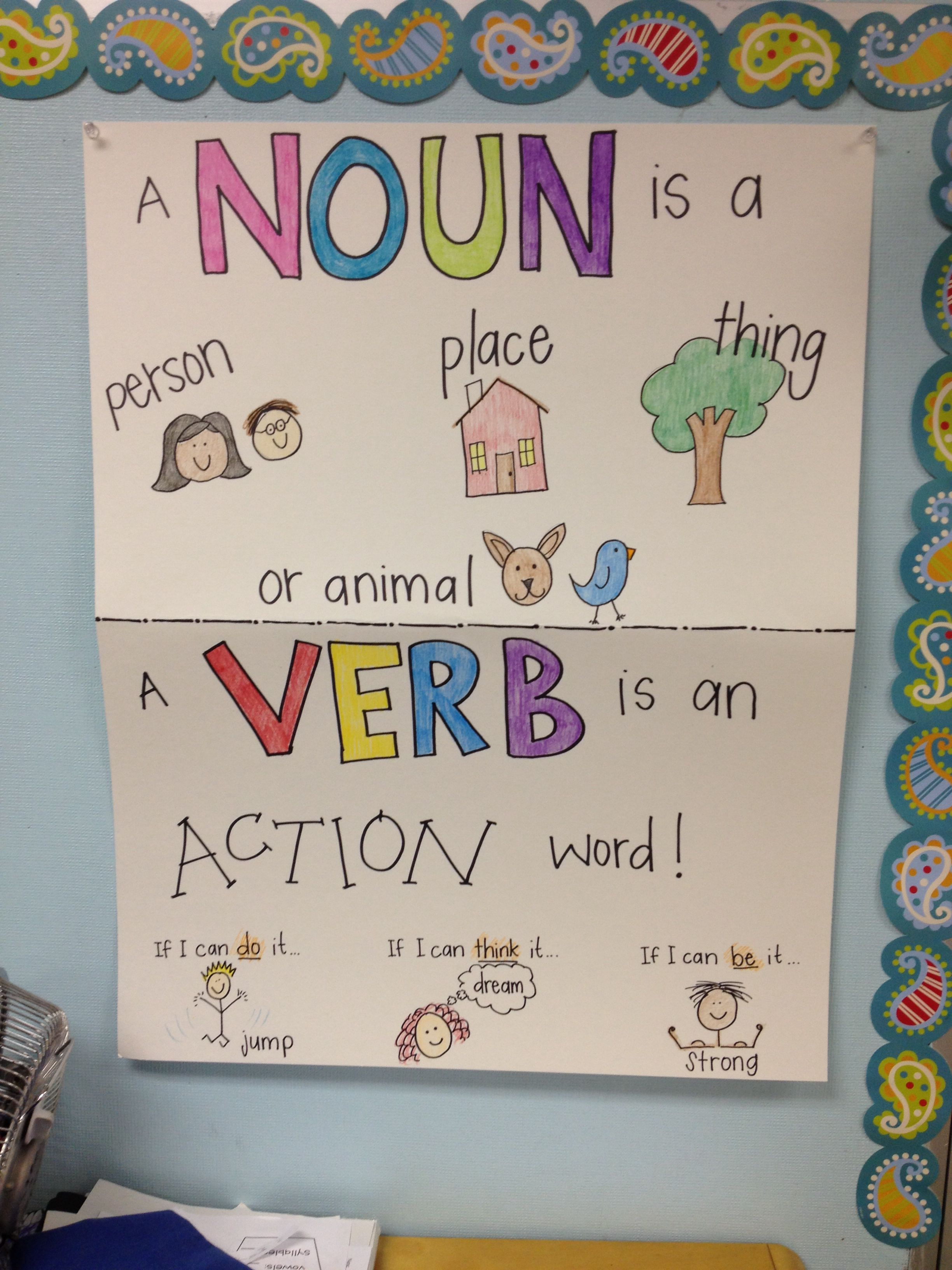 Noun Amp Verb Anchor Chart That I Made For The Kiddos Maybe