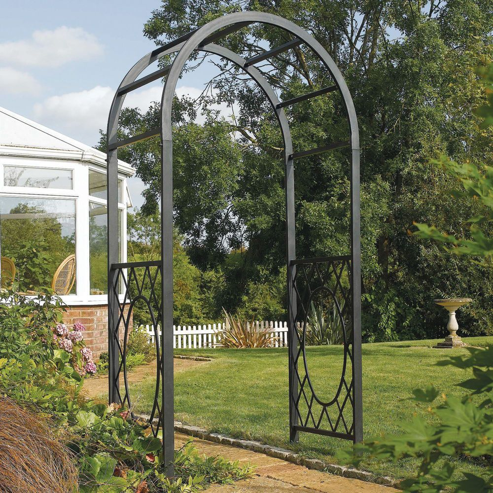 solid steel garden arch metal arbor frame gray outdoor decor iron