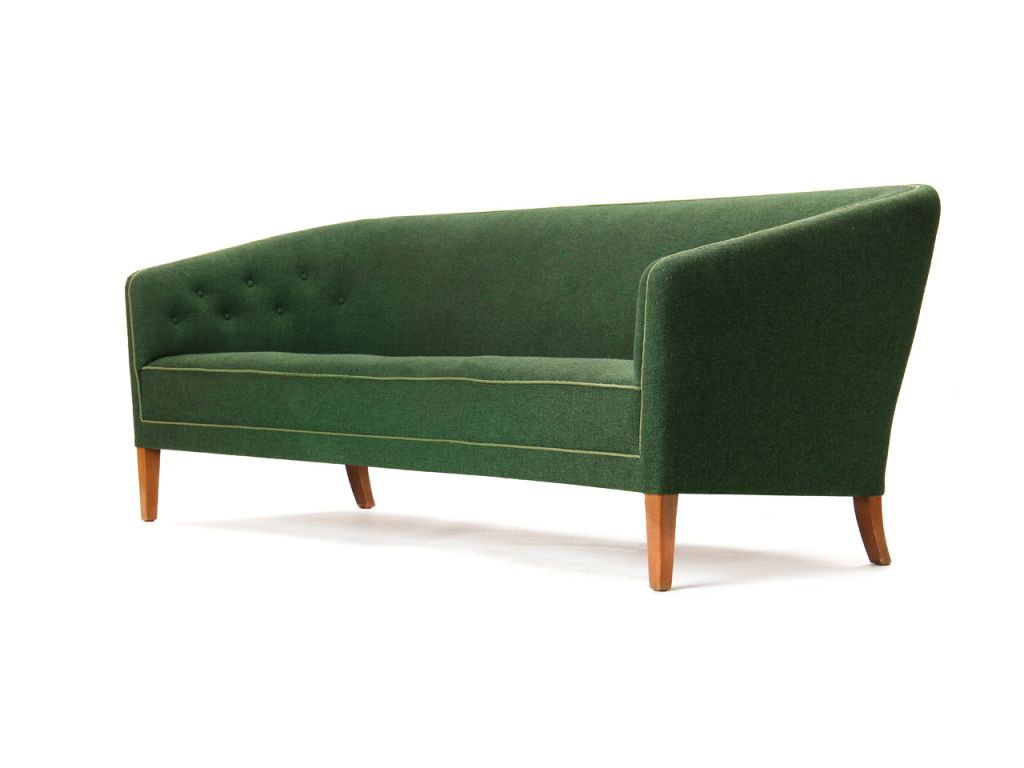A Cushionless Sofa With High Back And Button Tufting With Teak Legs. Denmark 1960's