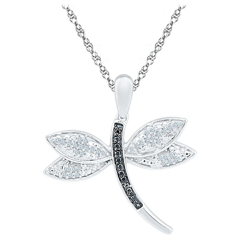 Diamond Accent Round White/Black Diamond Prong Set Dragonfly Pendant in Sterling Silver (18 IJ-I2-I3), Women's