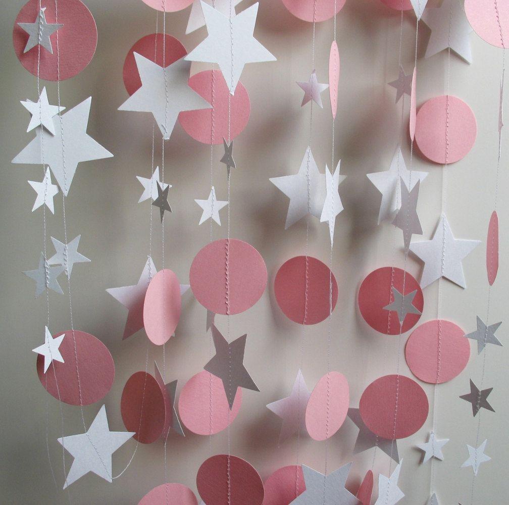 Papier girlande 13 fu lange rosa und wei en von polkadotshop deko taufe pinterest - Girlande babyzimmer ...