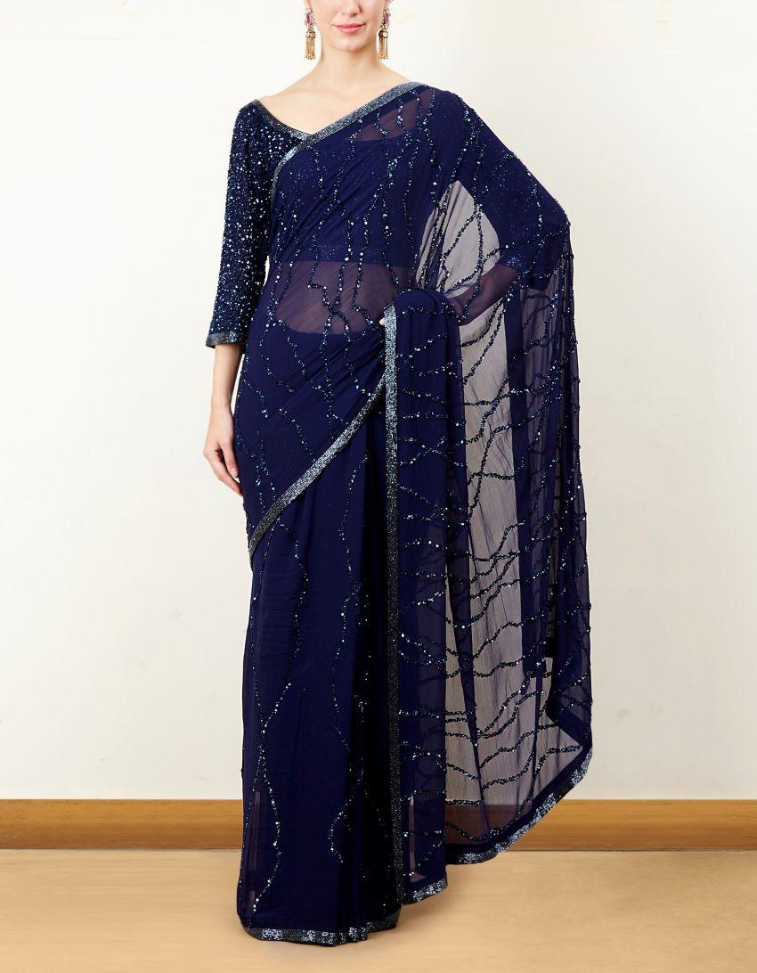 1d4130119d2 Blue Sequin Saree Set