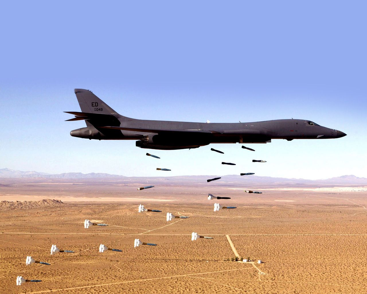 B-1B Bone dropping High Drag Baloot equipped bombs low level.