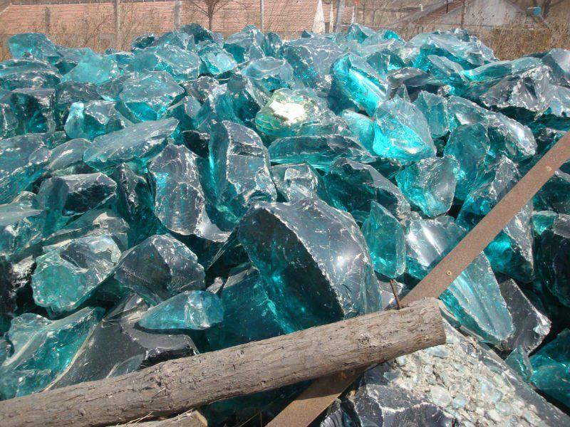 Natural clear colored cobalt blue slag glass rocks for for Decorative boulders for sale