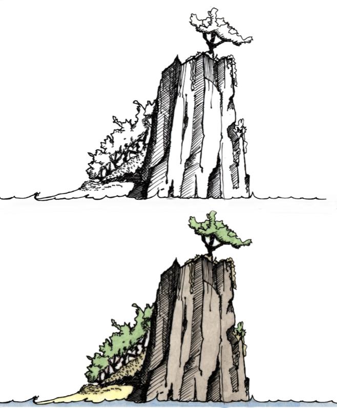 Line & Wash - Cliff painting Bob Davies lesson