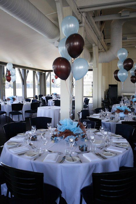 Blue and brown table decorations blue brown table for Baby shower function decoration