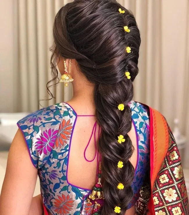 Braid Hairstyle For Saree In 2020 Hair Styles Easy Bun Hairstyles Simple Bridal Hairstyle