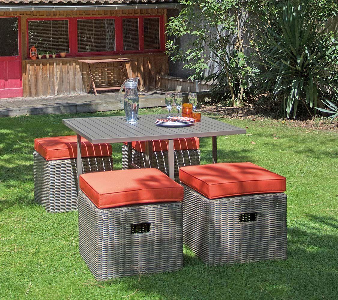 Salon de jardin en aluminium et résine tressée Cubio - PROLOISIRS ...