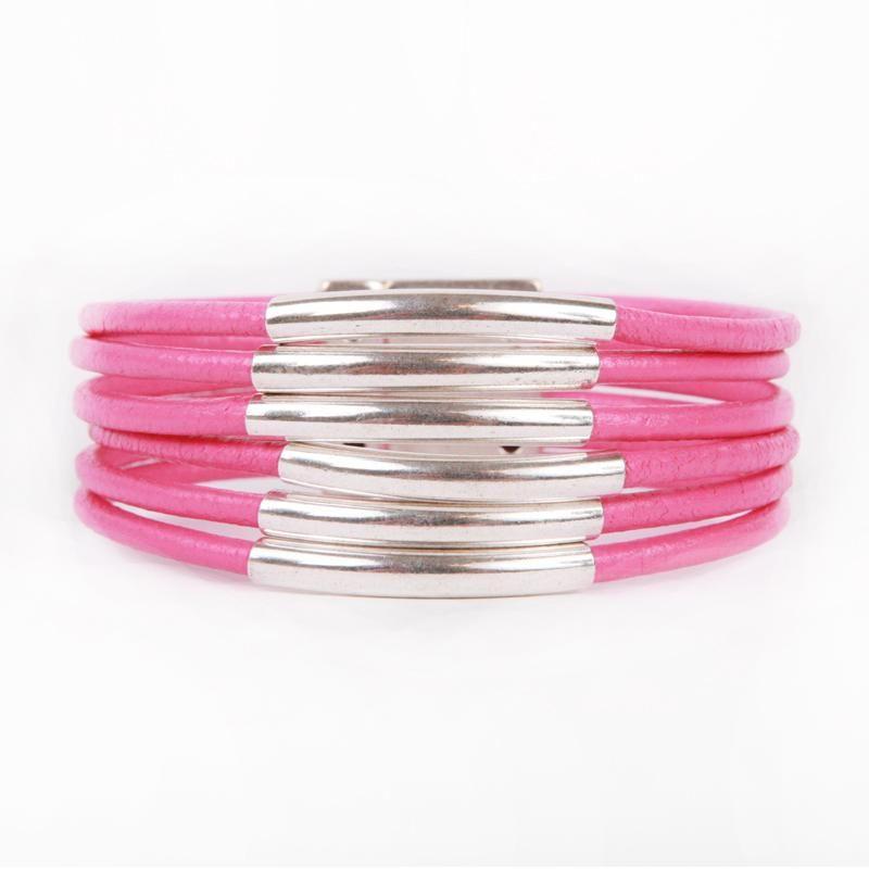 Six Strand Hot Pink Leather Cord Bracelet with Silver Accent Pieces - Artisan Design Gallery  #Elisabetta Ricciardi