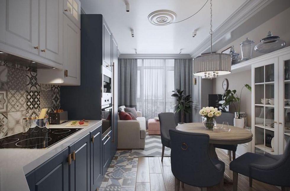 длинная кухня гостиная фото должны
