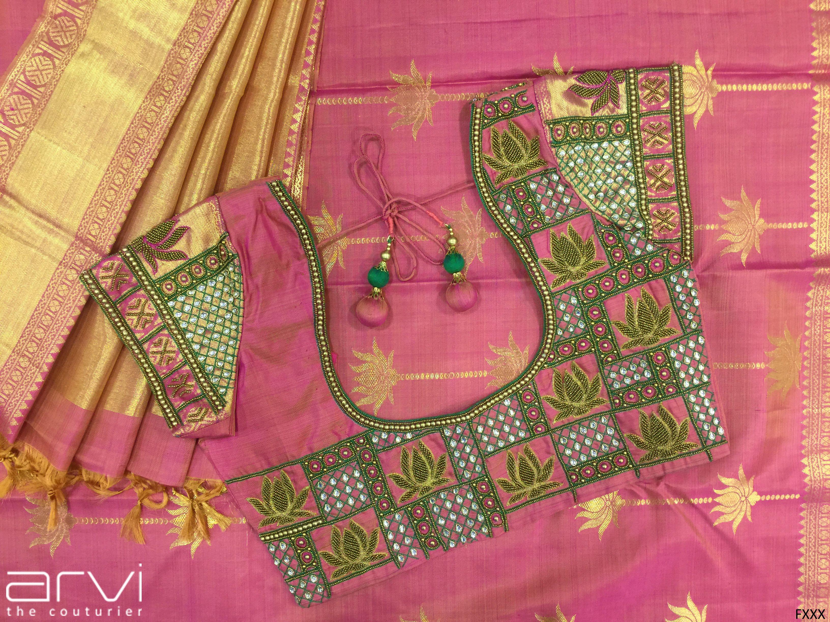 Custom tailored aari work blouse by arvi the couturier designer patterns saree also rh pinterest