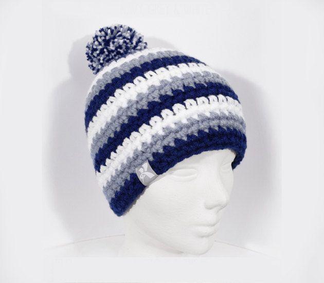 322d46806d6 Pompom Bobble Beanie Navy Blue Grey   White Stripey Crochet Winter Hat  Snowboard Ski Surf Skate  pompomhat  CrochetHat