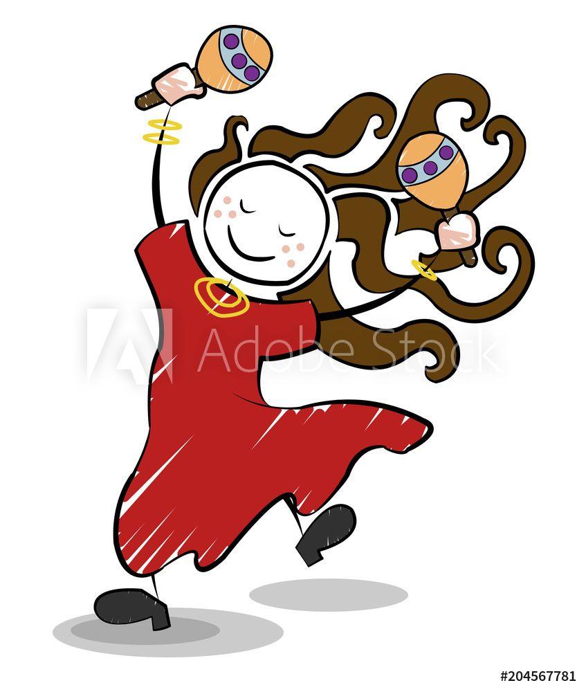 Tanzendes Madchen Mit Braunem Haar Und Rasseln