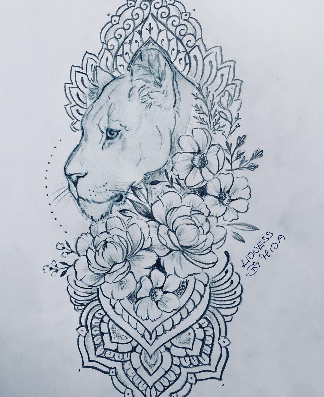 Lvice a kvetiny. Lioness and flowers🌿 designed by Mija. #lionesstattoo #liontattoo #animaltattoo #loveanimals #familytattoo #flowerstattoo…