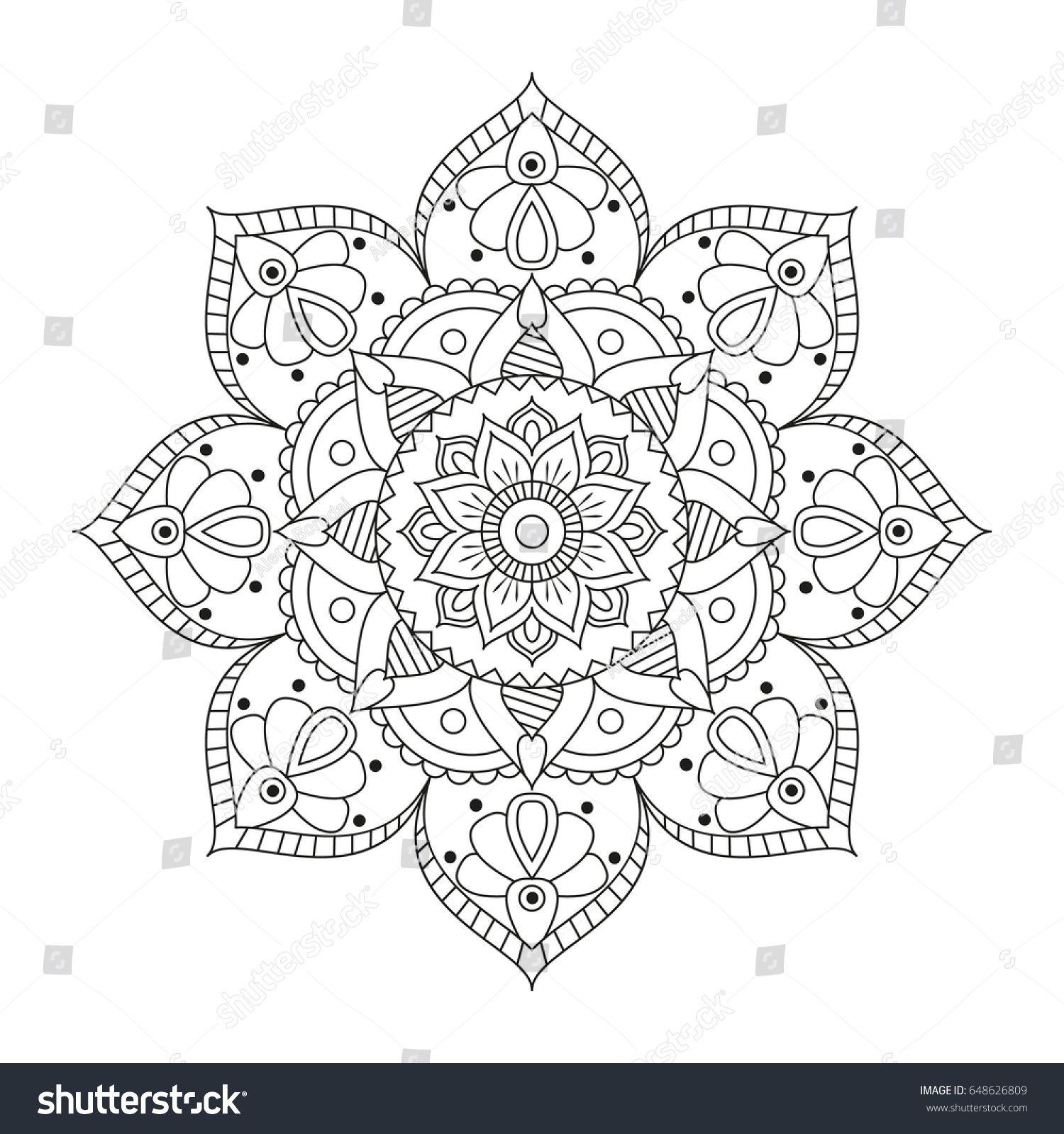 Flower Mandala Outline. Vintage decorative elements. Oriental ...