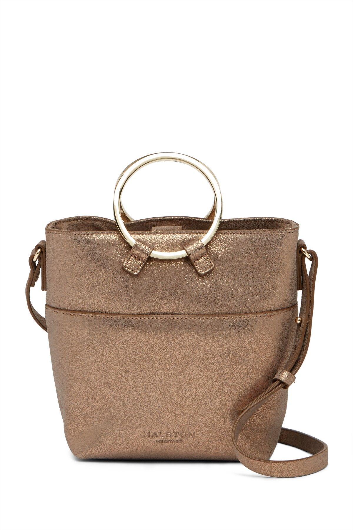 Small Metallic Leather Crossbody Bucket Bag Halston Heritage 866f100df8fff