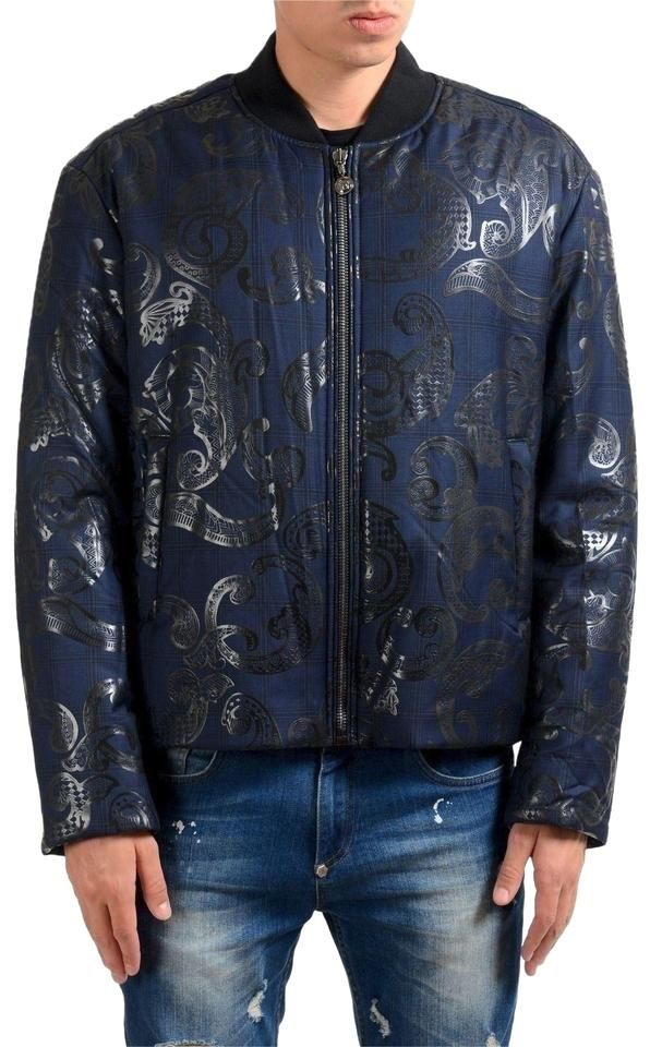 Versace | Blue Men's Wool Designed Bomber Parka Jacket Size 8 (M)