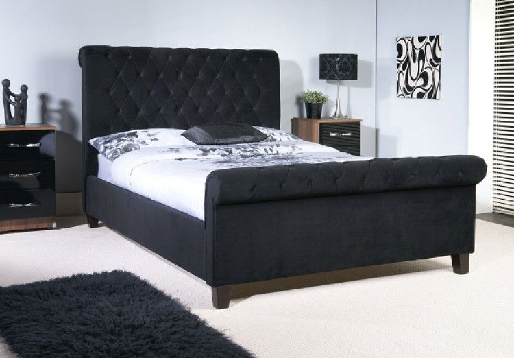 This Modern Bedstead Comes In A Plush Velvet In A Gorgeous Black
