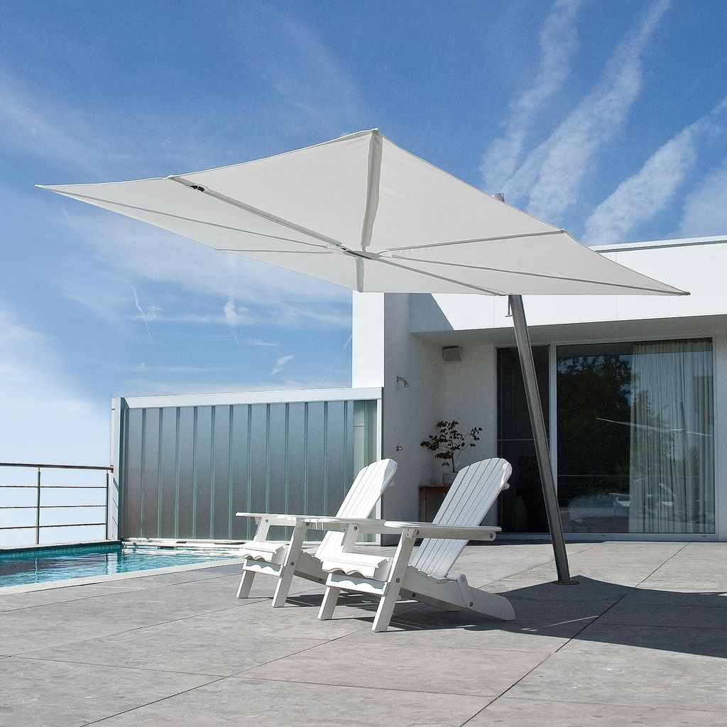 A Cantilever Umbrella With Flat Canopy And Unique Fan Closing System The Spectra