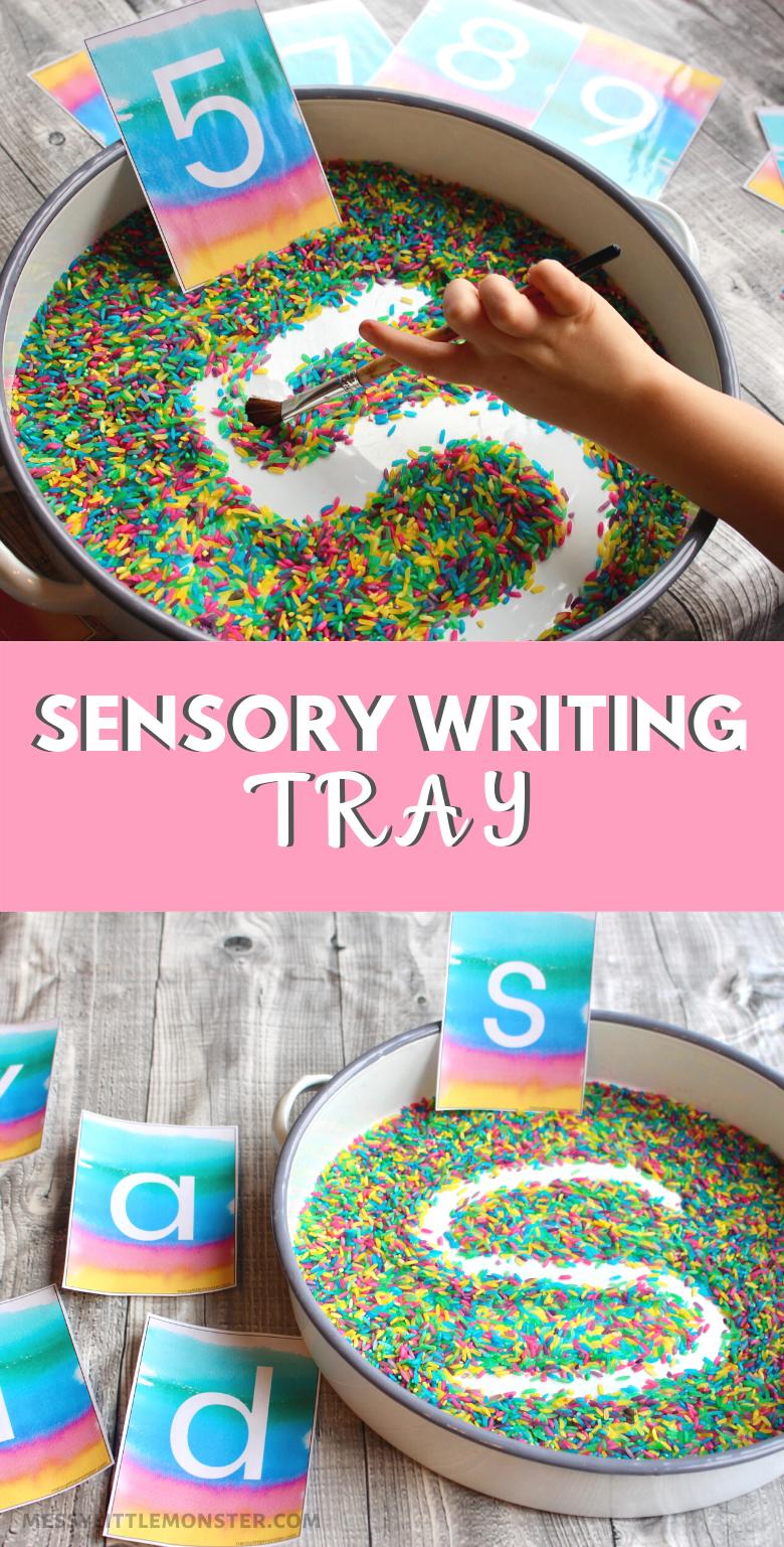 Rainbow Rice Sensory Writing Tray for Handwriting Practice