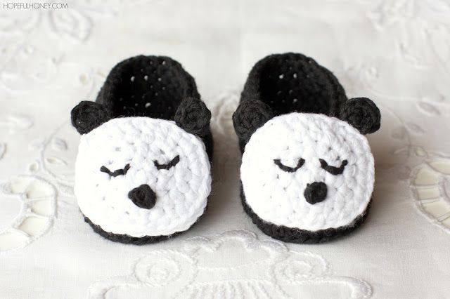 Sleepy Panda Baby Booties Crochet Pattern | Crochet! <3 | Pinterest
