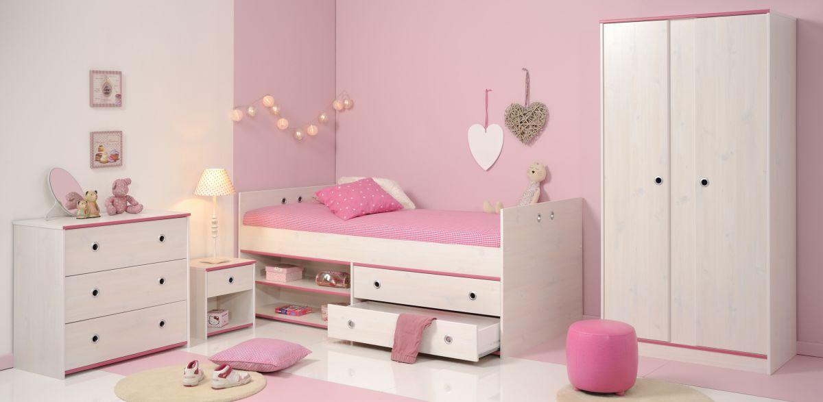 Schlafzimmer 4-tlg inkl 90x200 Stauraumbett u 2-trg Kleiderschrank