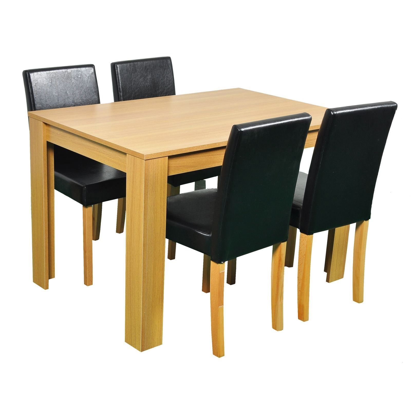 Surprising Oak Wooden Dining Table And 4 Pu Faux Leather Chairs Set Gamerscity Chair Design For Home Gamerscityorg