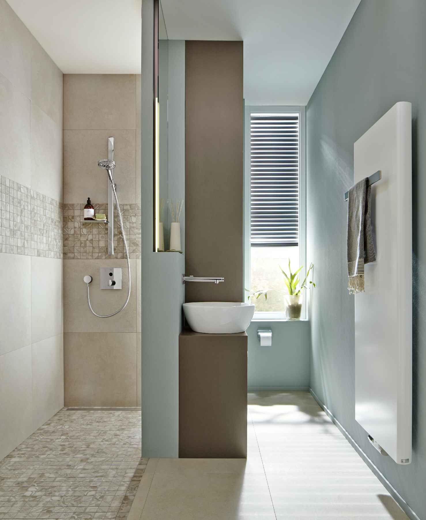Cemento Vintage Beige Badezimmer Design Mosaik Glasmosaik