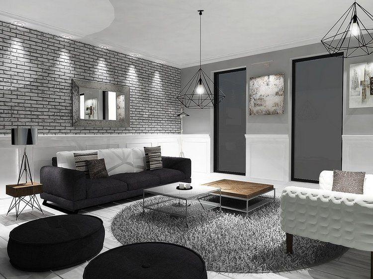 Decoration Noir Blanc Et Gris Dans Le Salon Eclectique Super Moderne Also  Interieurs Exclusifs Ultra Modernes