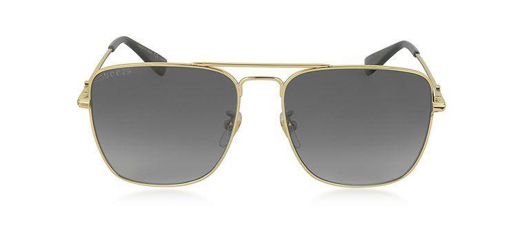 d35243ea489 Gucci GG0108S 006 Gold Metal Square Aviator Men s Polarized Sunglasses
