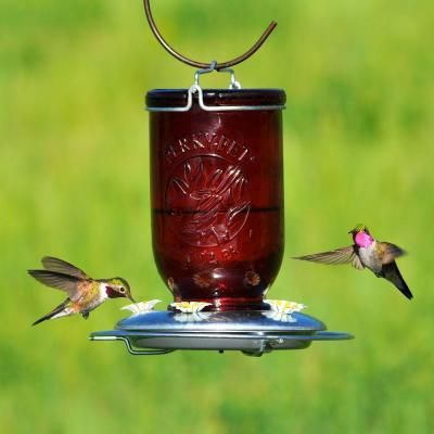 Attractive Perky Pet Red Mason Jar Glass Hummingbird Feeder 786   The Home Depot
