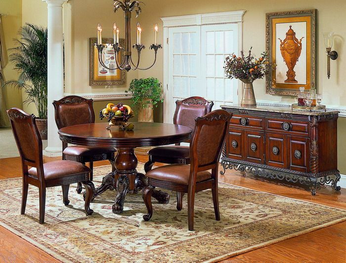 Elegant Round Dining Tables Set For Dining Room Interior Design Ideas