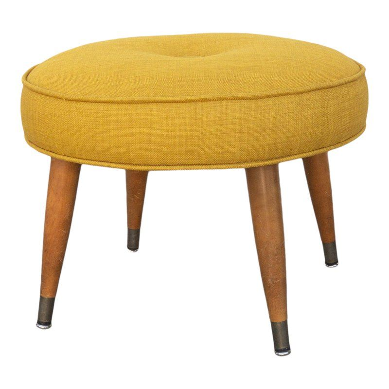 1950s Vintage Reupholstered Mustard Yellow Footstool Yellow
